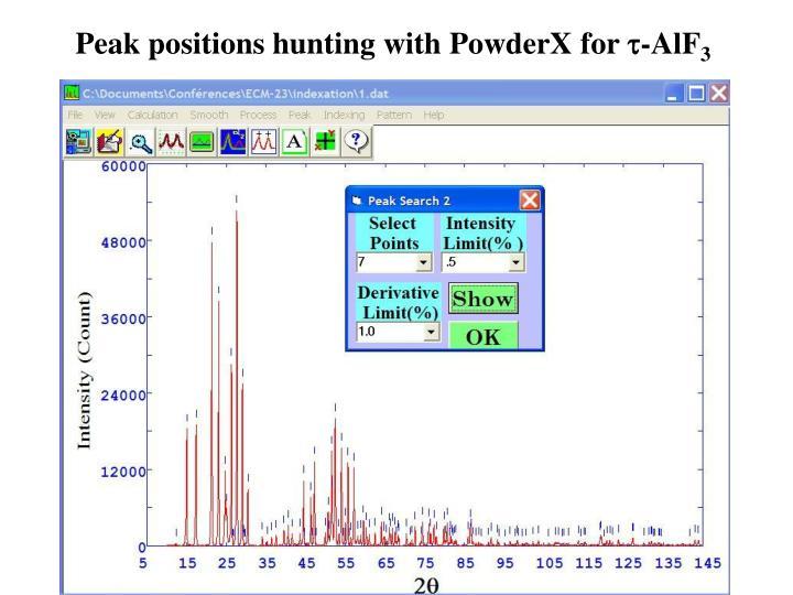 Peak positions hunting
