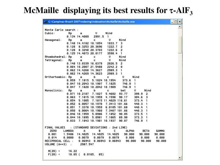 McMaille  displaying its best results for
