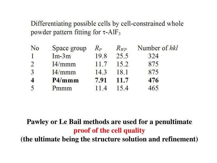 Pawley or Le Bail methods are used for a penultimate