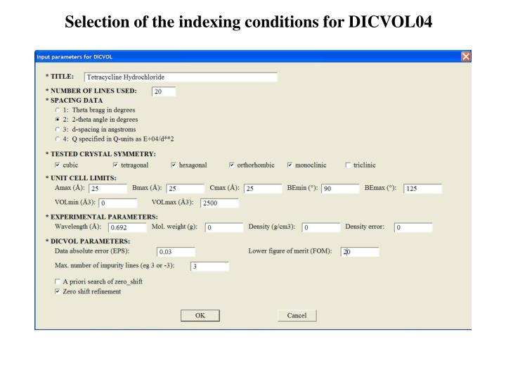 Selection of the indexing conditions for DICVOL04