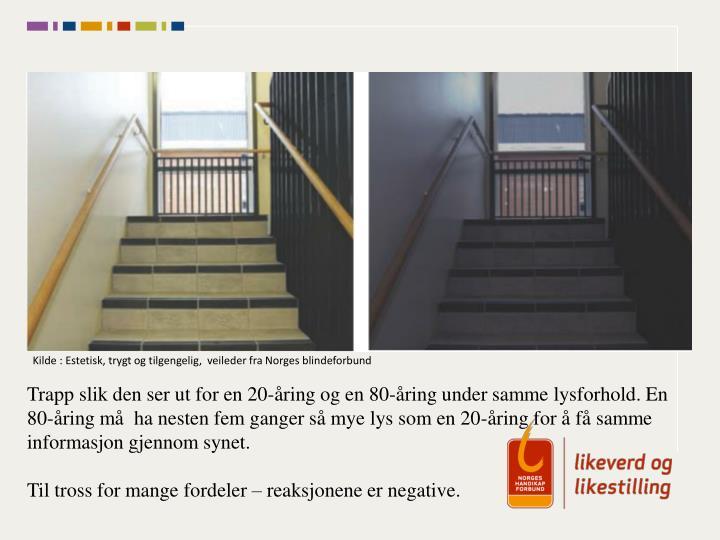 Kilde : Estetisk, trygt og tilgengelig,  veileder fra Norges blindeforbund