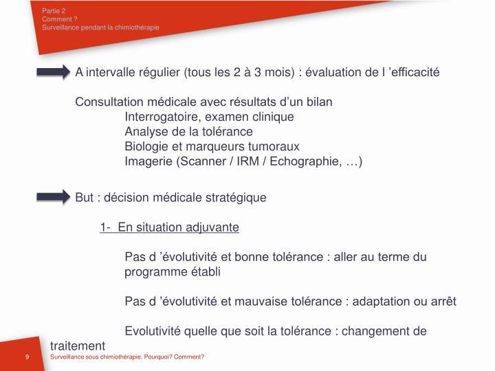 A intervalle régulier (tous les 2 à 3 mois) : évaluation de l'efficacité
