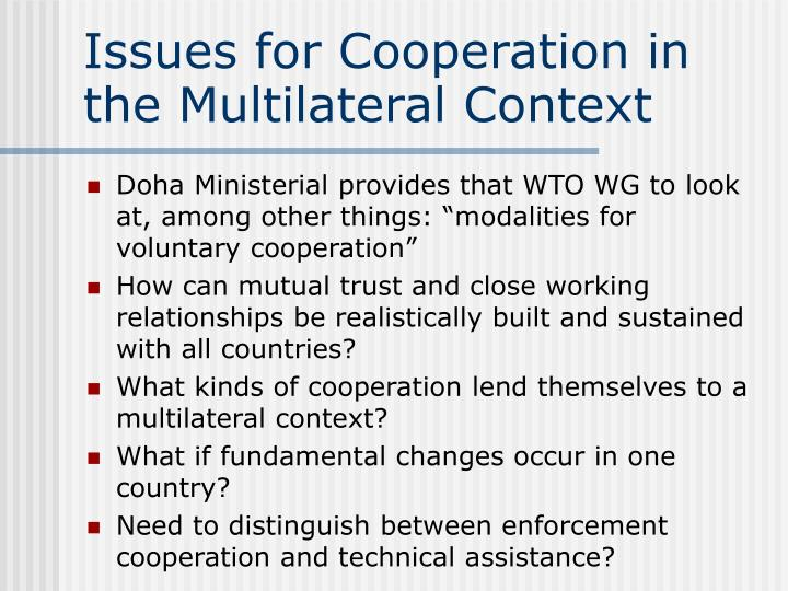 Issues for Cooperation in the Multilateral Context