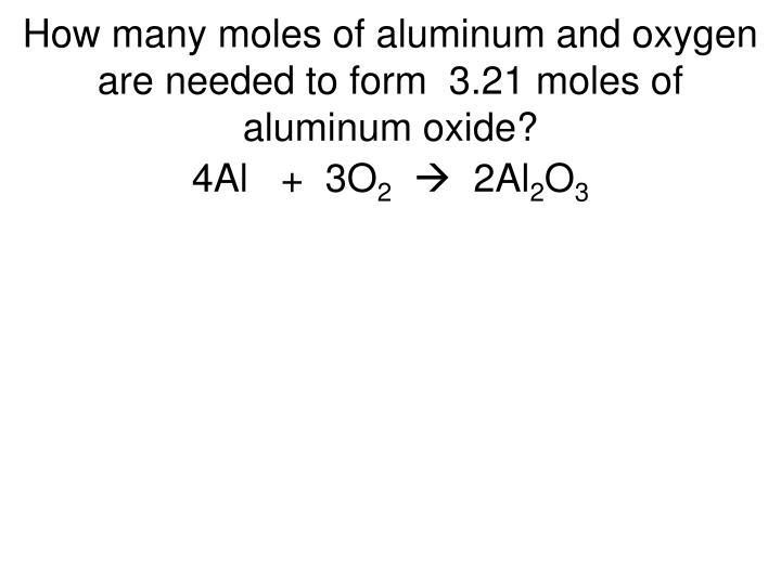 How many moles of aluminum and oxygen are needed to form  3.21 moles of aluminum oxide?