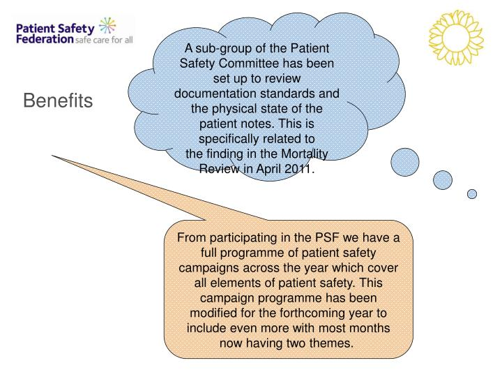 A sub-group of the Patient Safety Committee has been set up to review documentation standards and the physical state of the patient notes. This is specifically related to the finding in the Mortality Review in April 2011.