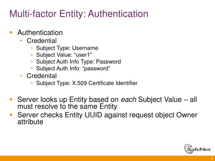 Multi-factor Entity: Authentication