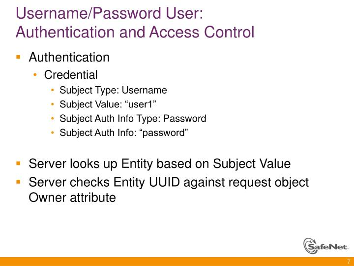 Username/Password User: