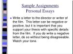 sample assignments personal essays