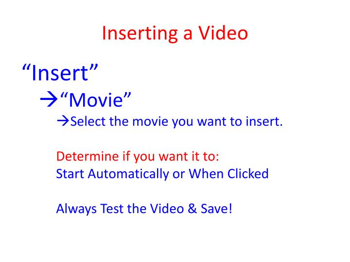 Inserting a Video