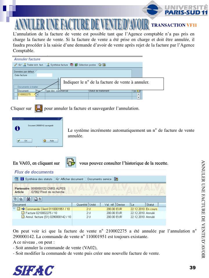 ANNULER UNE FACTURE DE VENTE/D'AVOIR