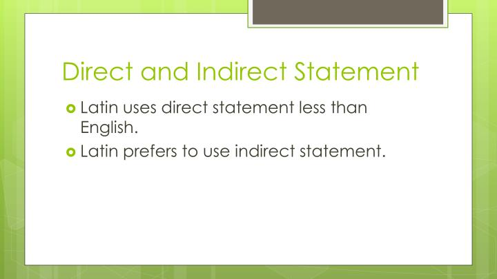 Direct and Indirect Statement
