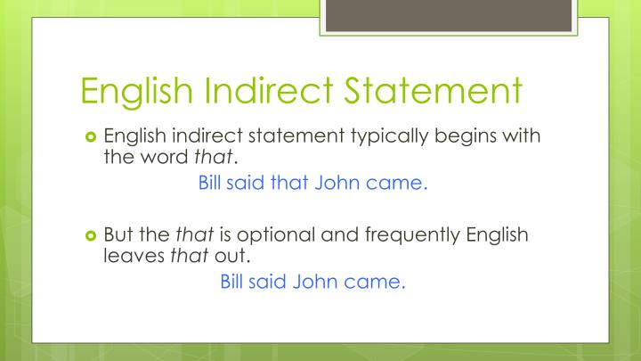 English Indirect Statement
