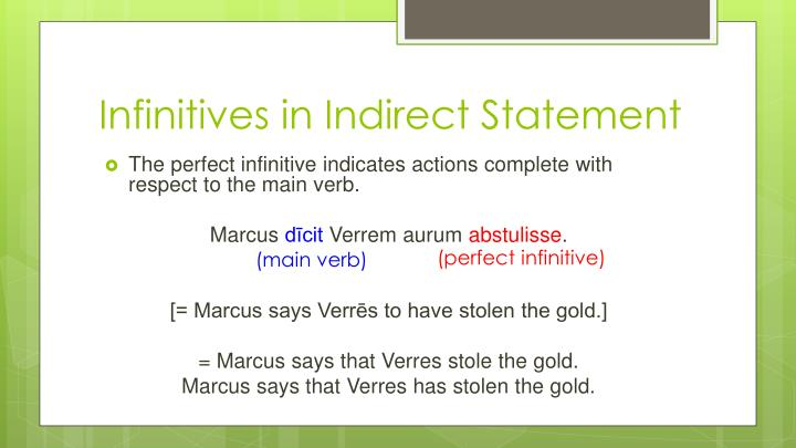 Infinitives in Indirect Statement