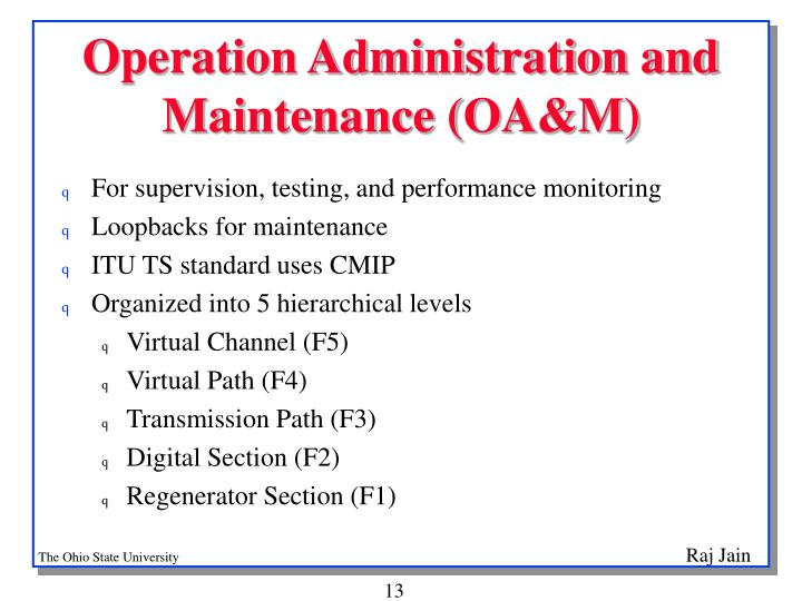 Operation Administration and Maintenance (OA&M)
