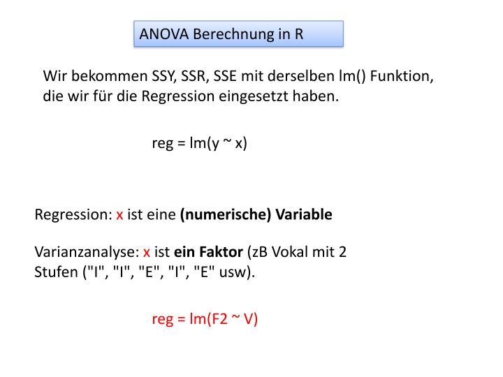 ANOVA Berechnung in R