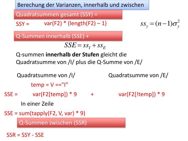 Berechung der Varianzen, innerhalb und zwischen