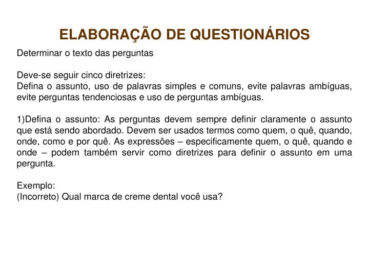 Elabora o de question rios