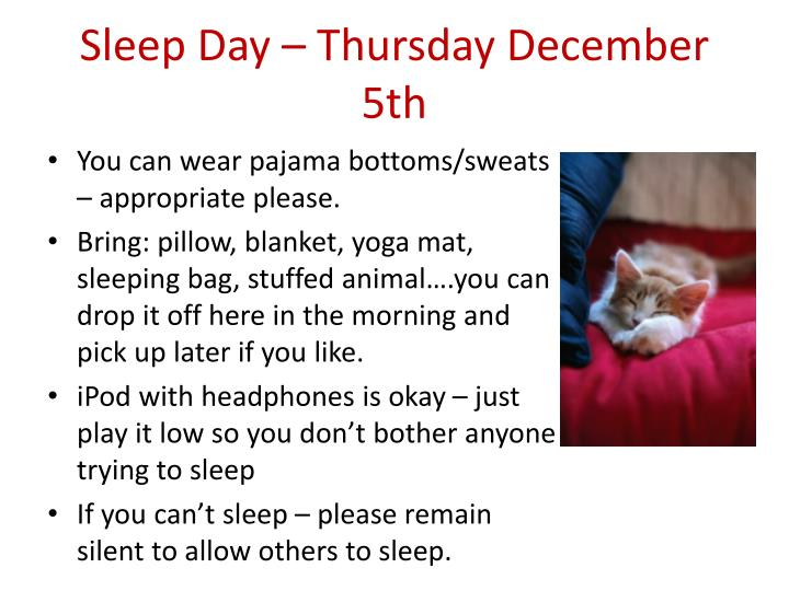 Sleep day thursday december 5th