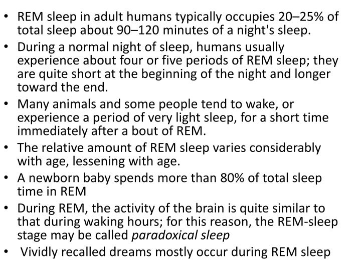 REM sleep in adult humans typically occupies 20–25% of total sleep about 90–120 minutes of a night's sleep.
