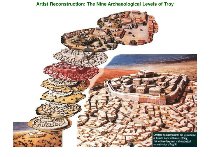 Artist Reconstruction: The Nine Archaeological Levels of Troy