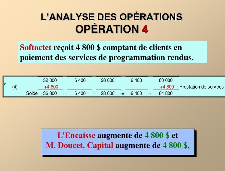 L'ANALYSE DES OPÉRATIONS
