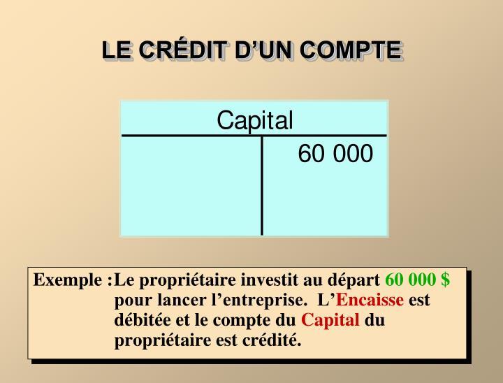 LE CRÉDIT D'UN COMPTE