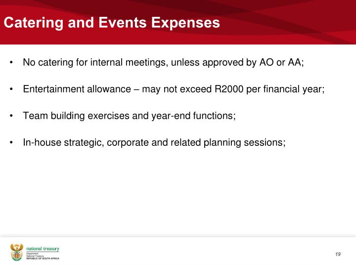 Catering and Events Expenses