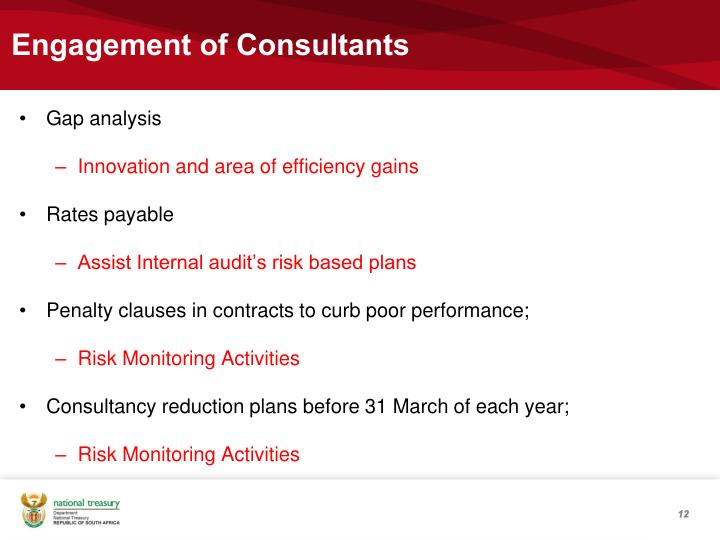 Engagement of Consultants