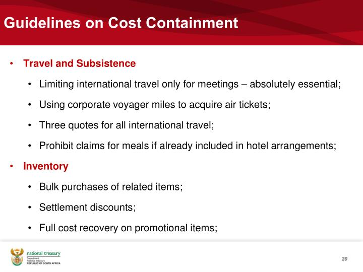 Guidelines on Cost Containment