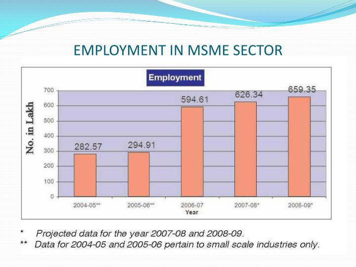 EMPLOYMENT IN MSME SECTOR
