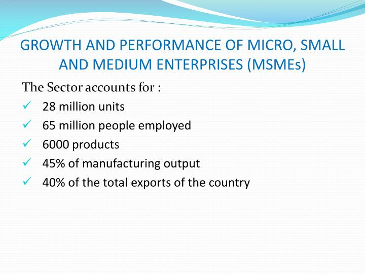 Growth and performance of micro small and medium enterprises msmes