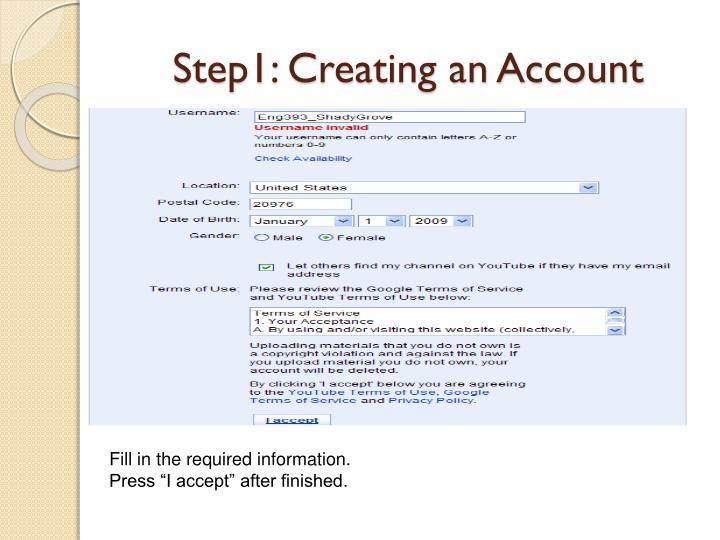 Step1: Creating an Account