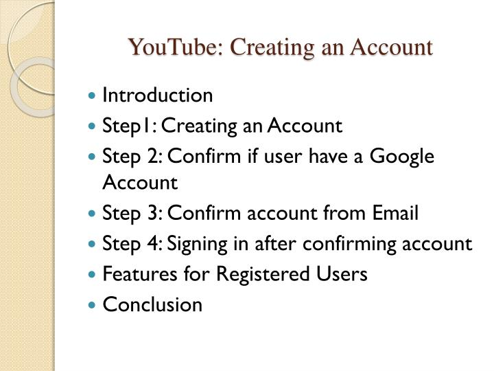 YouTube: Creating an Account