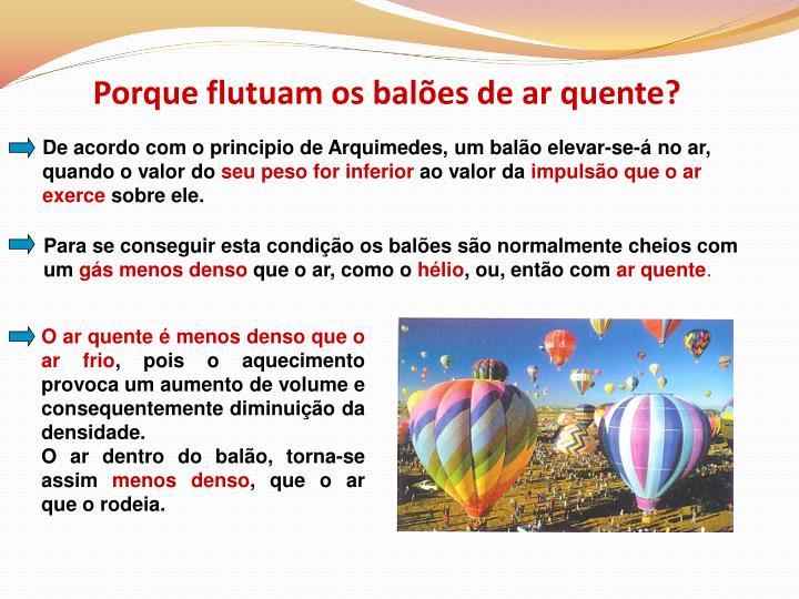 Porque flutuam os balões de ar quente?