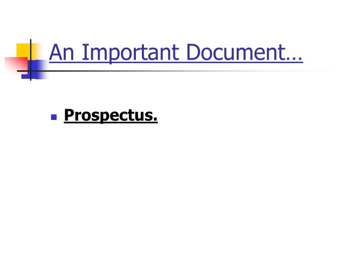 An Important Document…