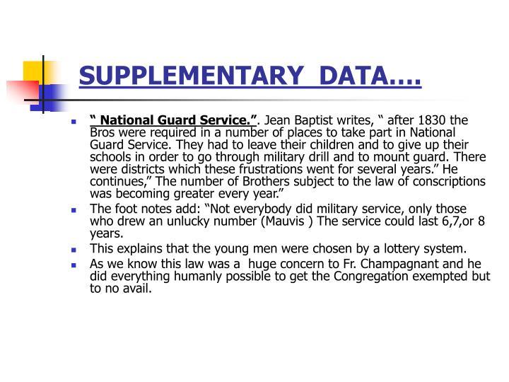 SUPPLEMENTARY  DATA….