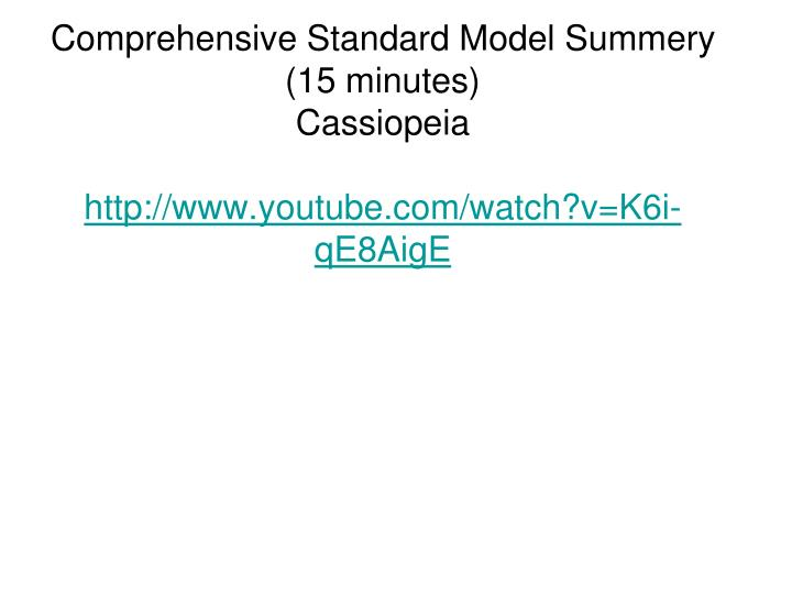 Comprehensive Standard Model Summery