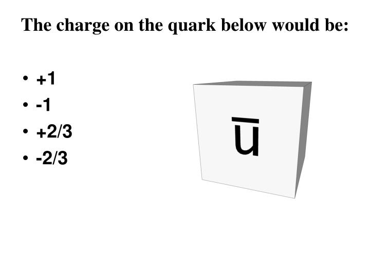 The charge on the quark below would be: