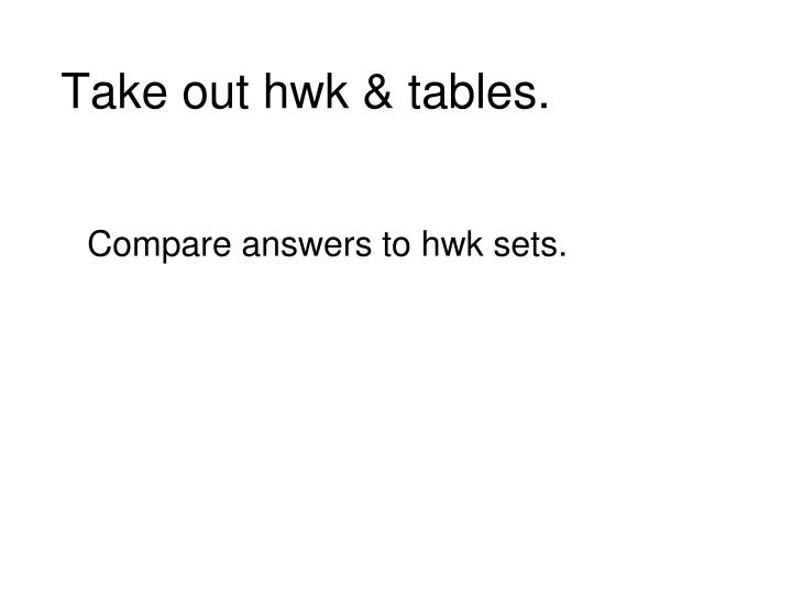 Take out hwk tables