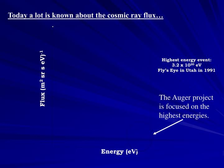 Today a lot is known about the cosmic ray flux…