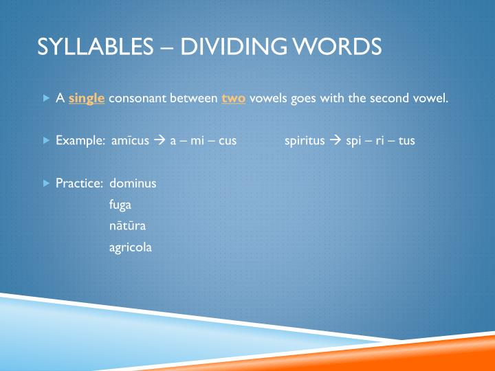 Syllables – Dividing Words