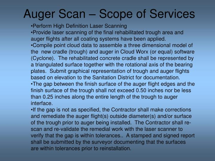 Auger Scan – Scope of Services