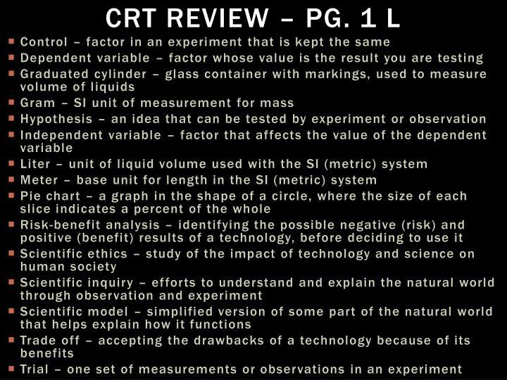 CRT Review – Pg. 1 L