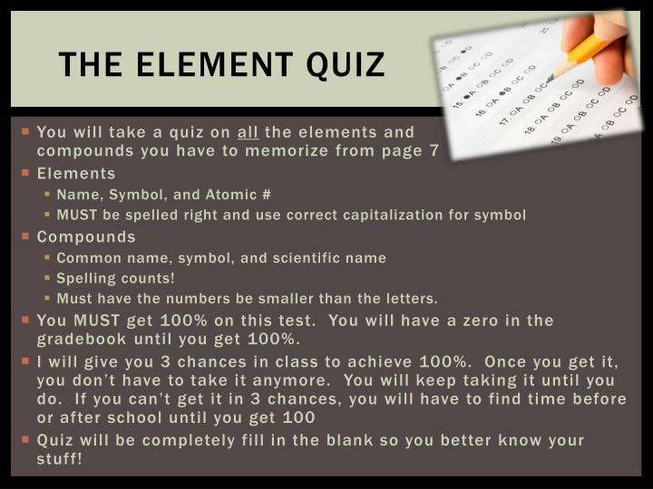 The Element Quiz