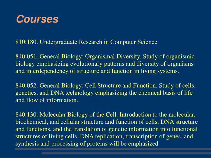810:180. Undergraduate Research in Computer Science