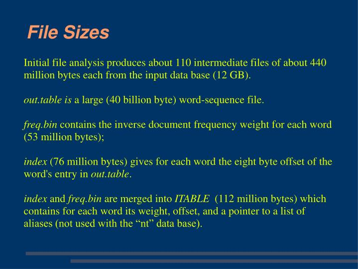 Initial file analysis produces about 110 intermediate files of about 440 million bytes each from the input data base (12 GB).