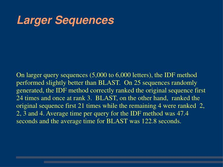 On larger query sequences (5,000 to 6,000 letters), the IDF method performed slightly better than BLAST.  On 25 sequences randomly generated, the IDF method correctly ranked the original sequence first 24 times and once at rank 3.  BLAST, on the other hand,  ranked the original sequence first 21 times while the remaining 4 were ranked  2, 2, 3 and 4. Average time per query for the IDF method was 47.4 seconds and the average time for BLAST was 122.8 seconds.