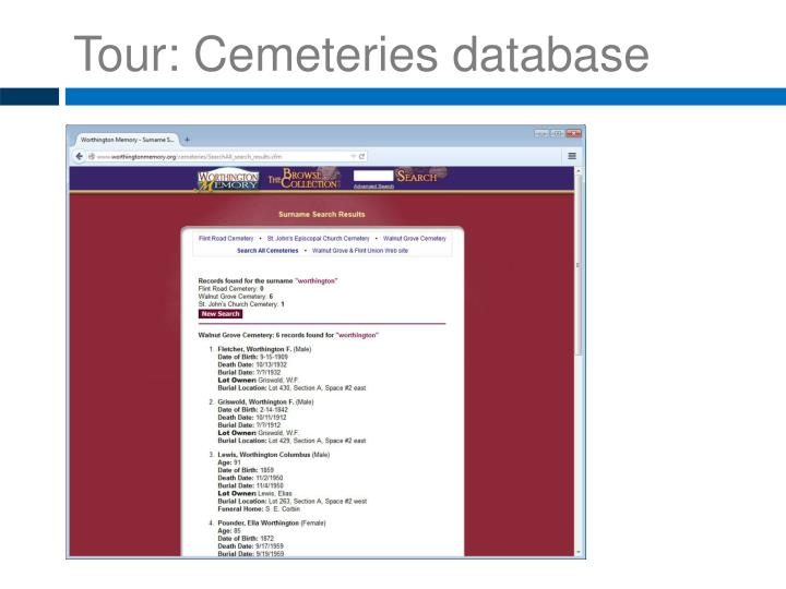 Tour: Cemeteries
