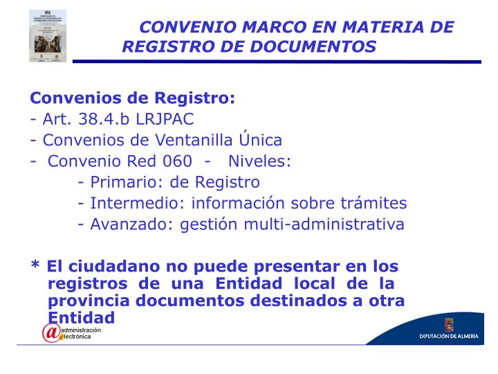 Convenios de Registro: