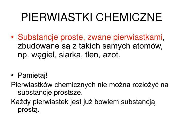 PIERWIASTKI CHEMICZNE